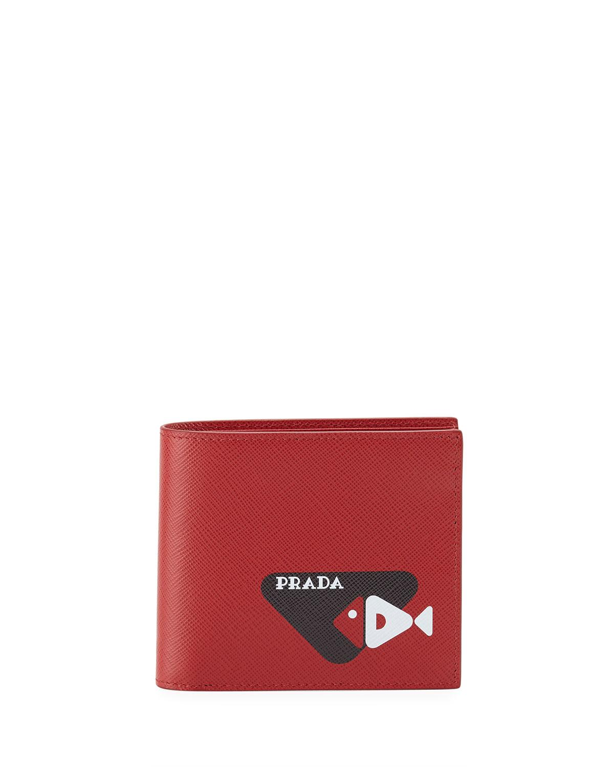 e6bf8ab033e0 Lyst - Prada Stamped Classic Wallet in Red for Men