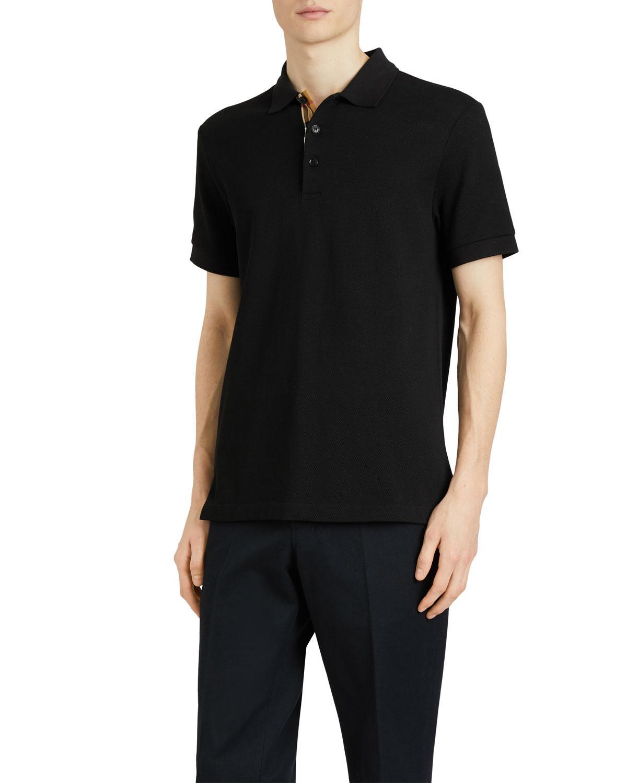 458cd4dea32 Lyst - Burberry Men s Hartford Check-facing Polo Shirt in Black for Men
