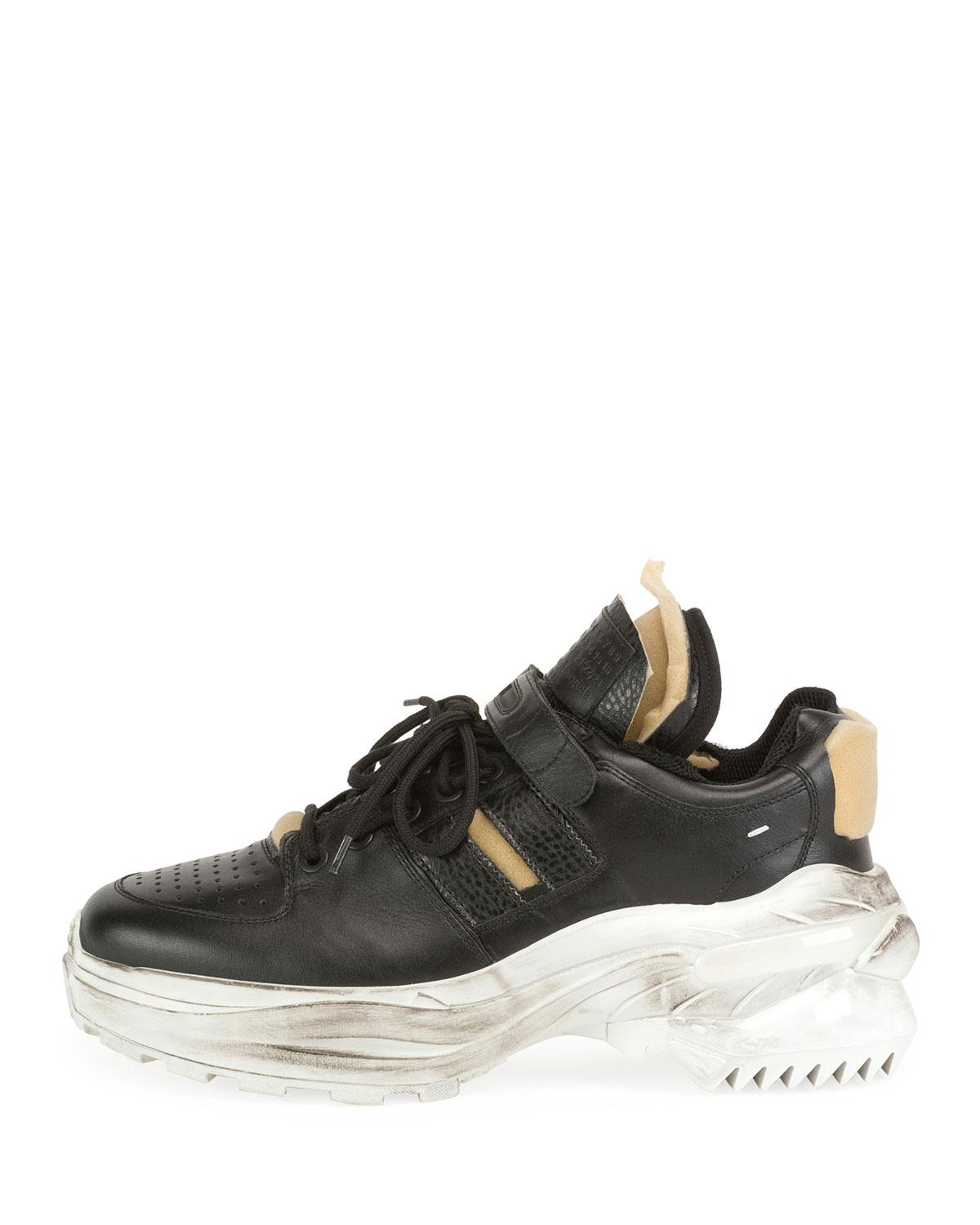 half off cc969 b6882 Maison Margiela Men s Retrofit Leather Trainer Sneakers With Dirty  Treatment in Black for Men - Lyst