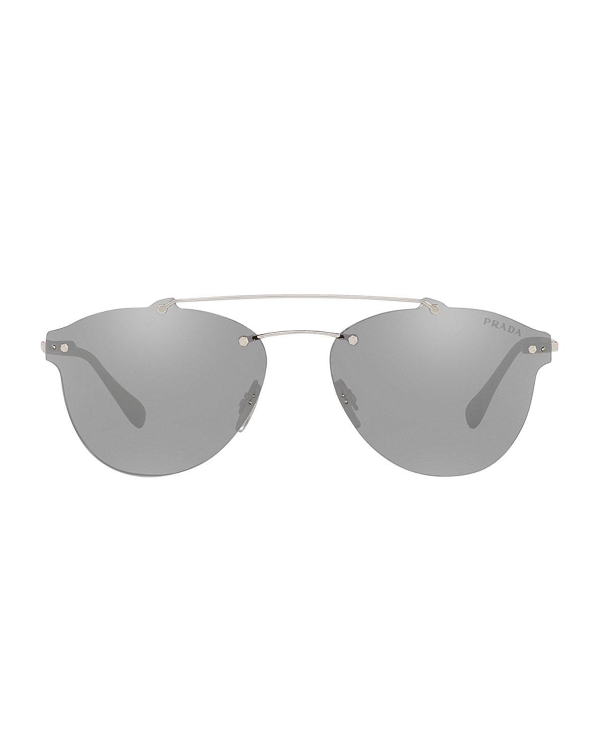 200a84d1bd701 Lyst - Prada Men s Ps55ts Rimless Aviator Sunglasses in Black