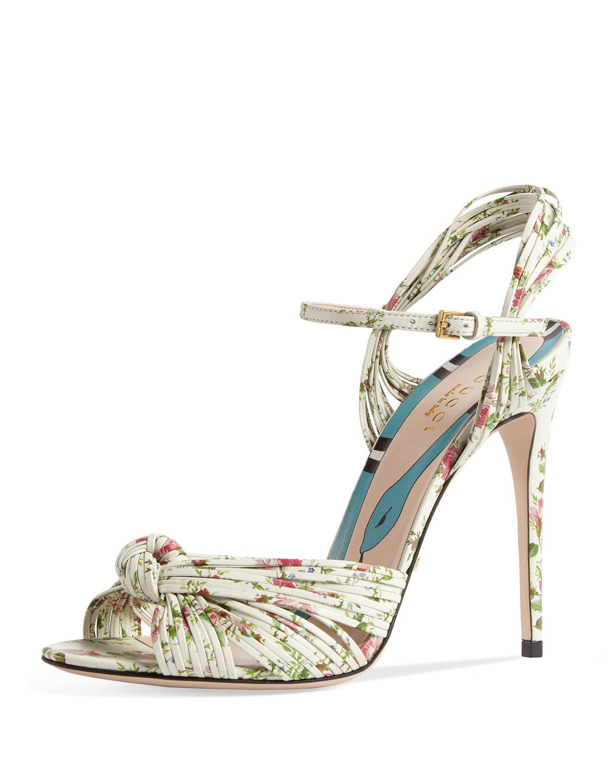 d9e062341f23e Lyst - Gucci Allie Floral-print Leather Sandals in White
