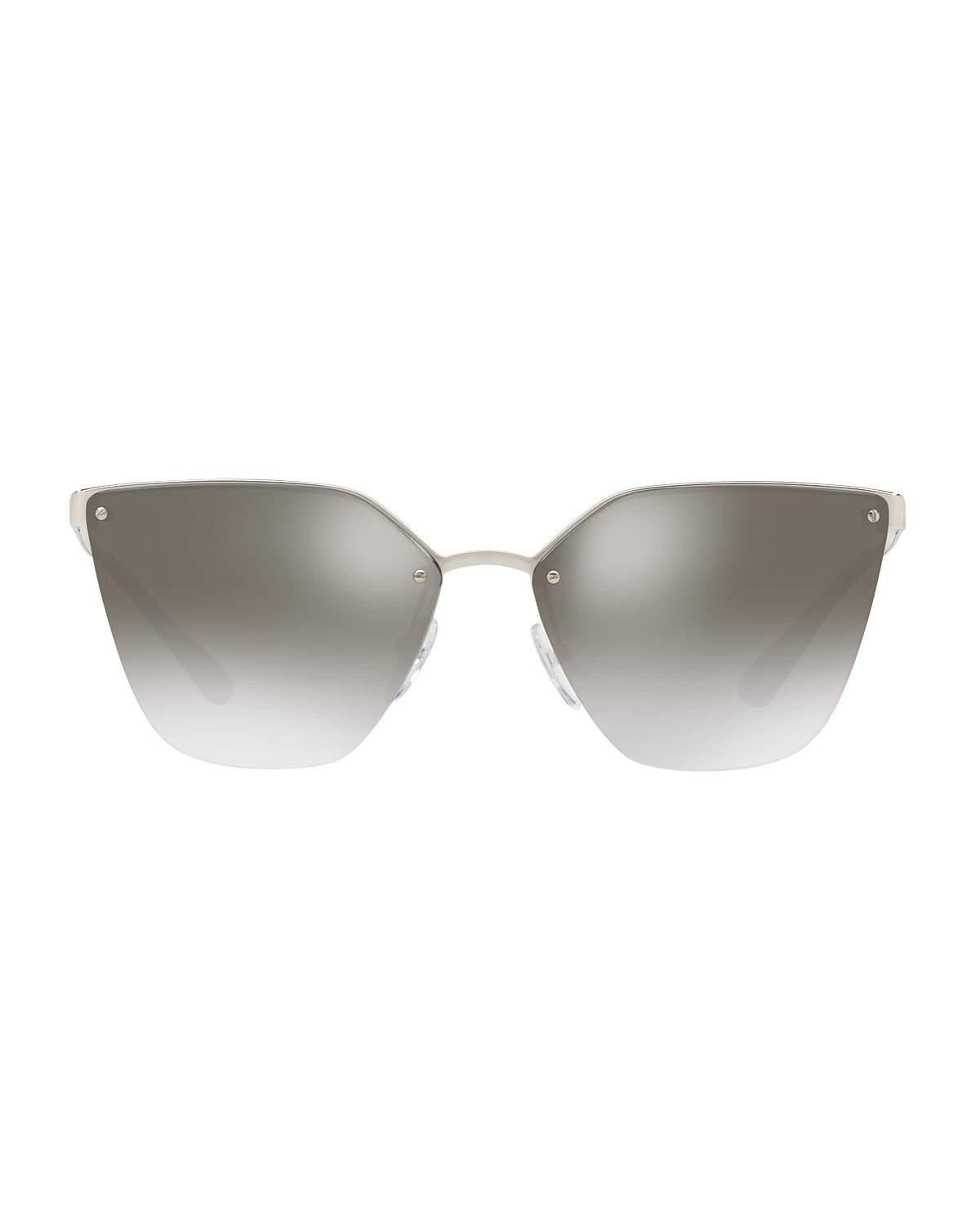 274229c209a3 ... top quality lyst prada mirrored square cat eye sunglasses in gray d6b46  e780d