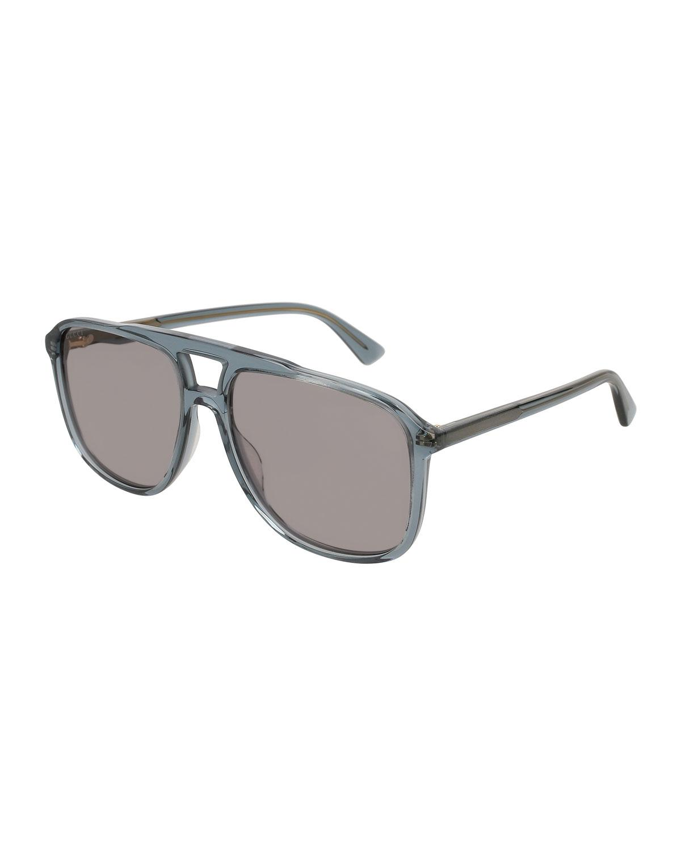 f6b00c2d0db Lyst - Gucci Square Acetate Aviator Sunglasses in Gray for Men