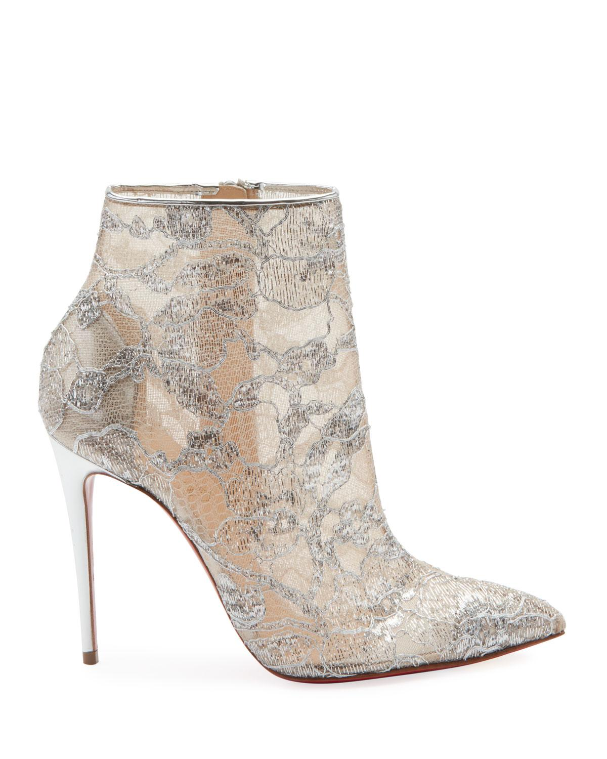 1464256f8151 Christian Louboutin Gipsybootie Alencon Lace Bootie in Metallic - Lyst