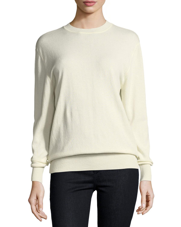 Ryan roche Cashmere Crewneck Sweater in White | Lyst