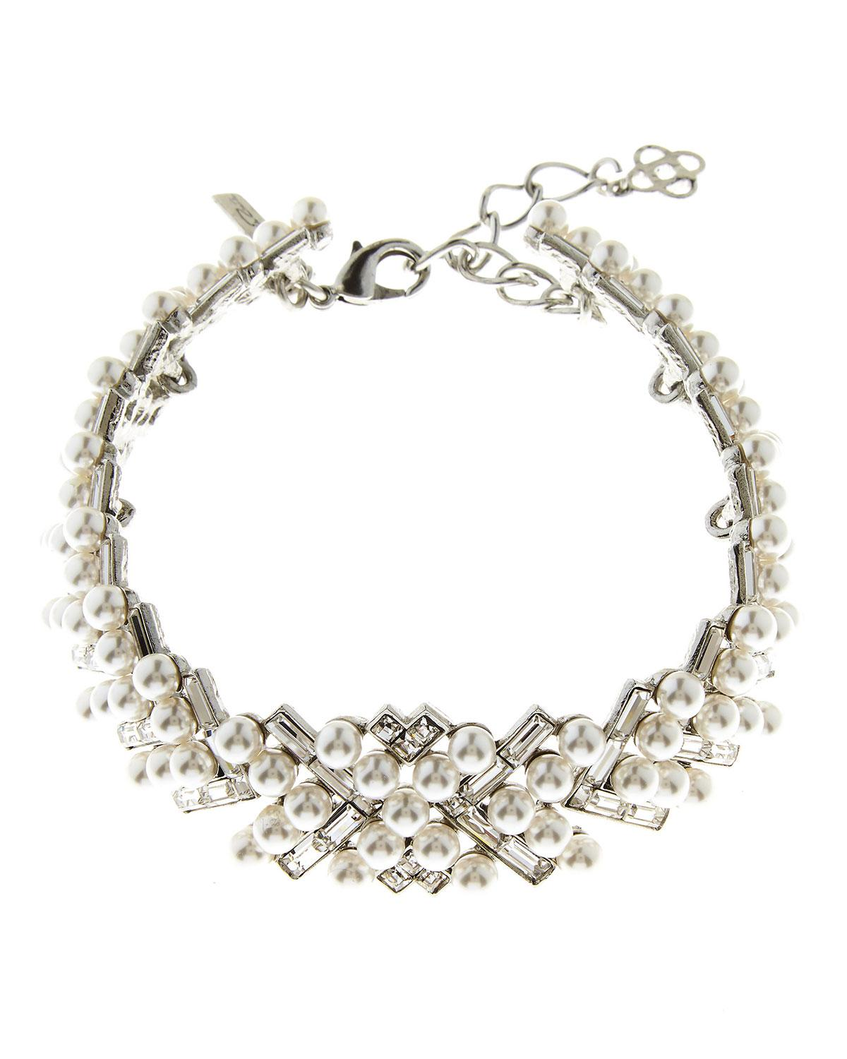 Oscar De La Renta Pearly Baguette Statement Necklace a5Ii0XVORQ
