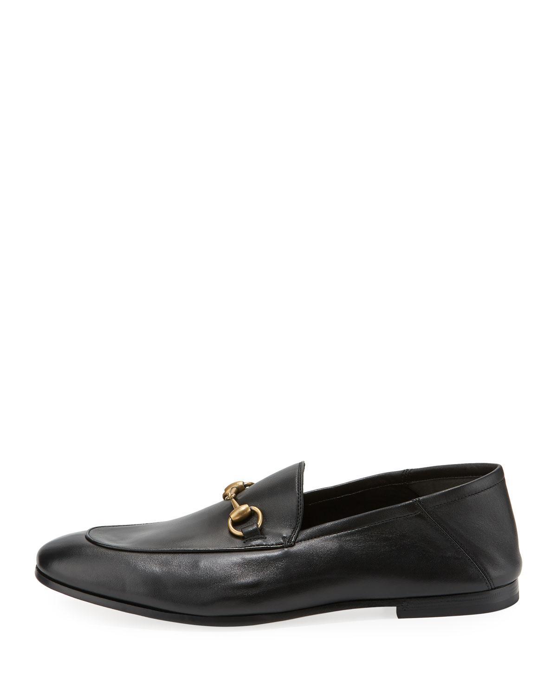 9535e5293fd Lyst - Gucci Brixton Soft Leather Bit-strap Loafer in Black