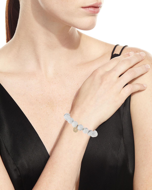 Sydney Evan 14k Howlite Beaded Stretch Bracelet w/ Starburst Charm duC8YrCZ70