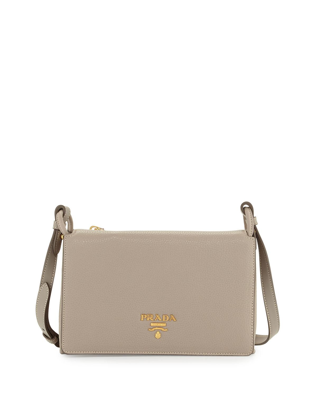 2b892e44bb5f Prada - Gray Vitello Daino Double-gusset Shoulder Bag - Lyst. View  fullscreen