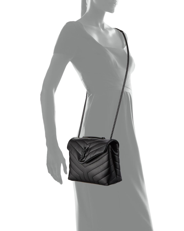 lyst saint laurent monogram loulou small chain shoulder bag in black. Black Bedroom Furniture Sets. Home Design Ideas