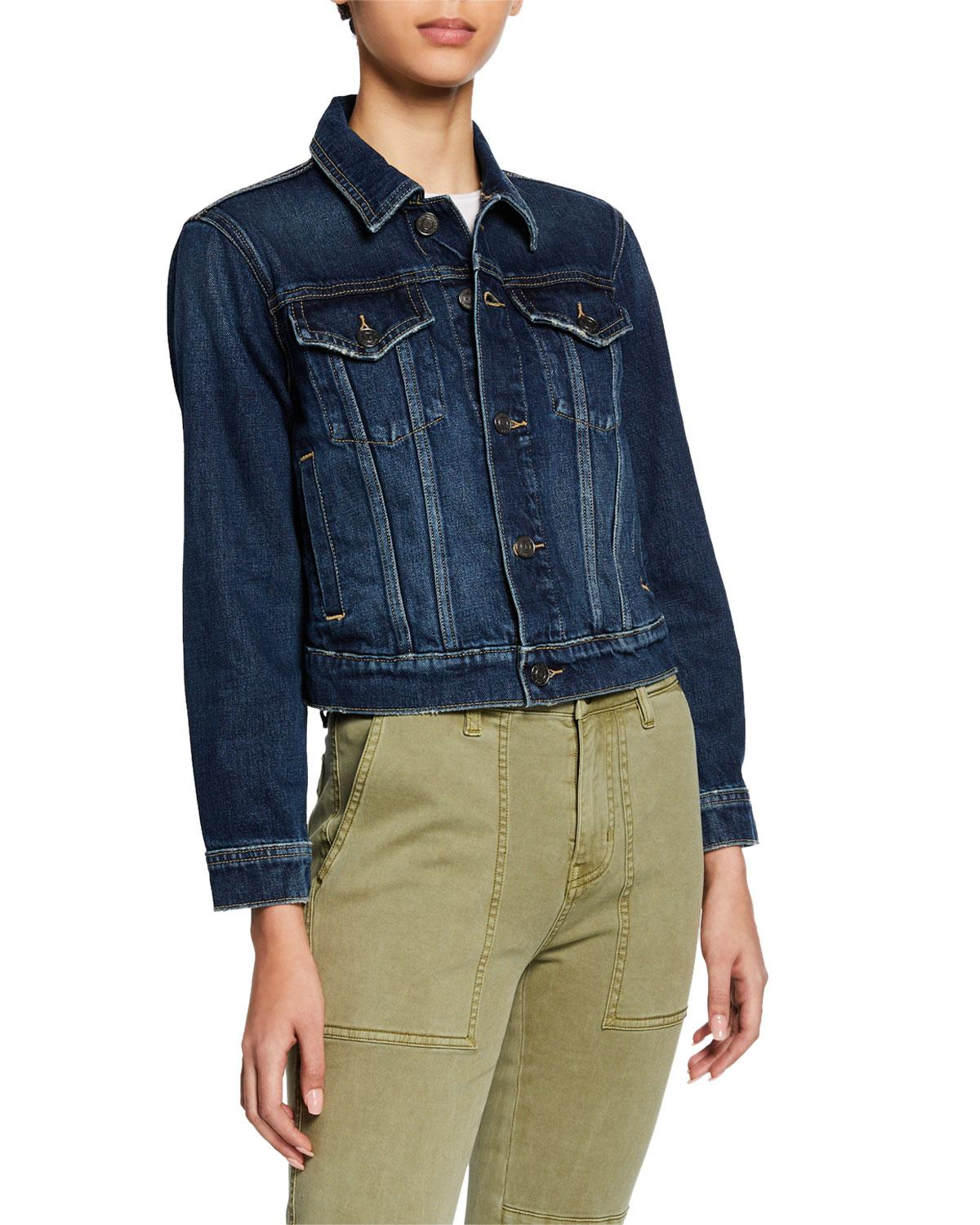 8f5a4e3da Lyst - Current Elliott The Baby Trucker Cropped Denim Jacket in Blue