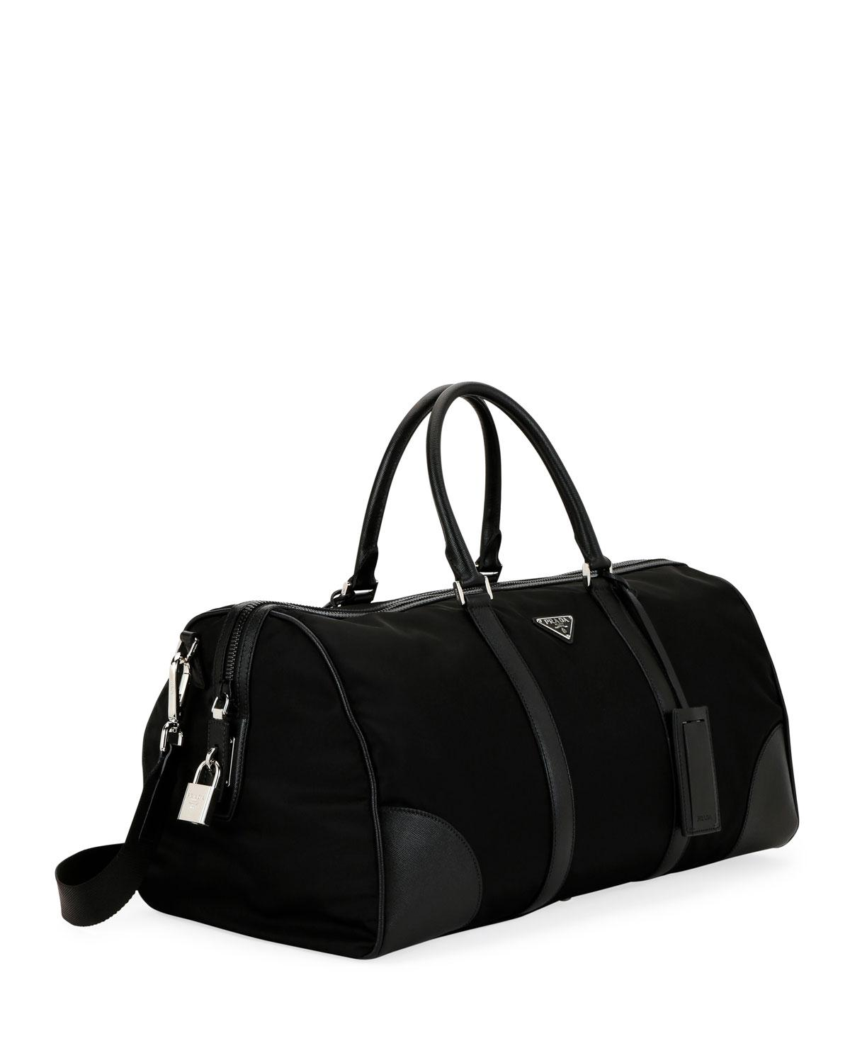 964a016964e3 Prada Men's Nylon & Saffiano Duffel Bag in Black for Men - Lyst
