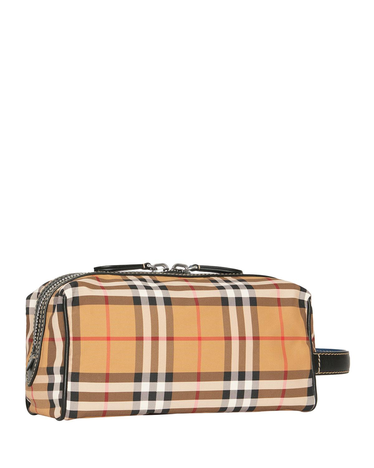 bec99ce1981e Lyst Burberry Men S Vintage Check Nylon Toiletry Bag In Yellow For