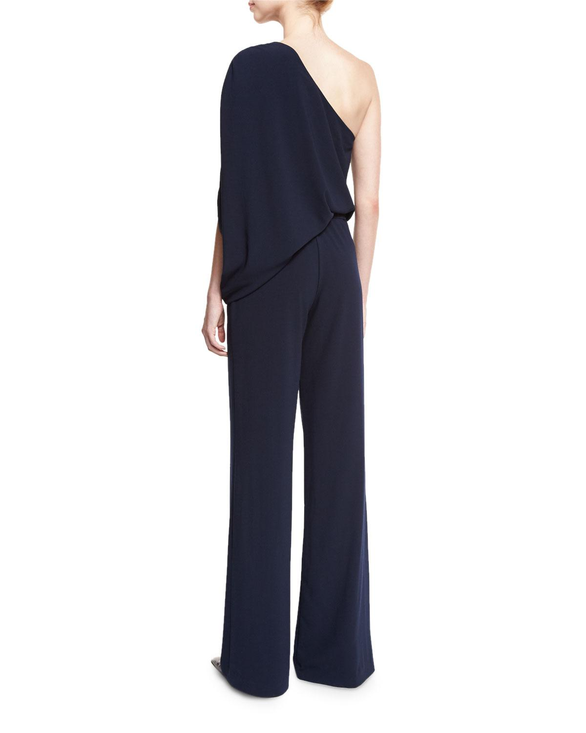 2ace1ef683d7 Lyst - Halston One-shoulder Draped Stretch Crepe Jumpsuit in Blue