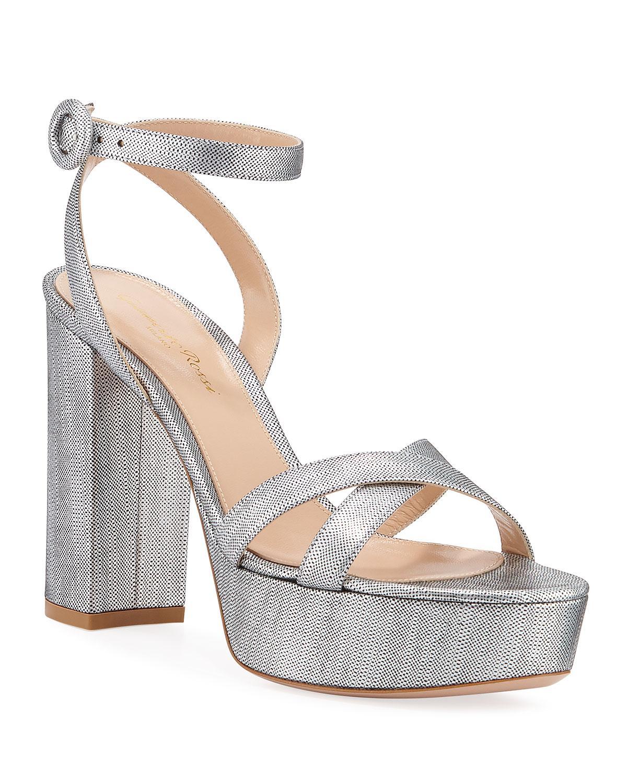 517b56af86a Lyst - Gianvito Rossi Metallic Block-heel Platform Sandals in Metallic