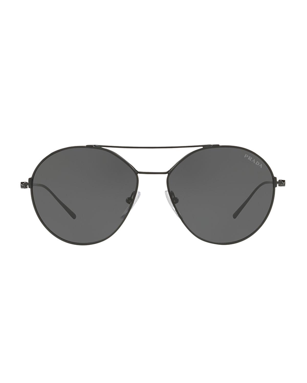 6bf17d7c80a Lyst - Prada Men s Pr63us Round Metal Aviator Sunglasses in Black ...