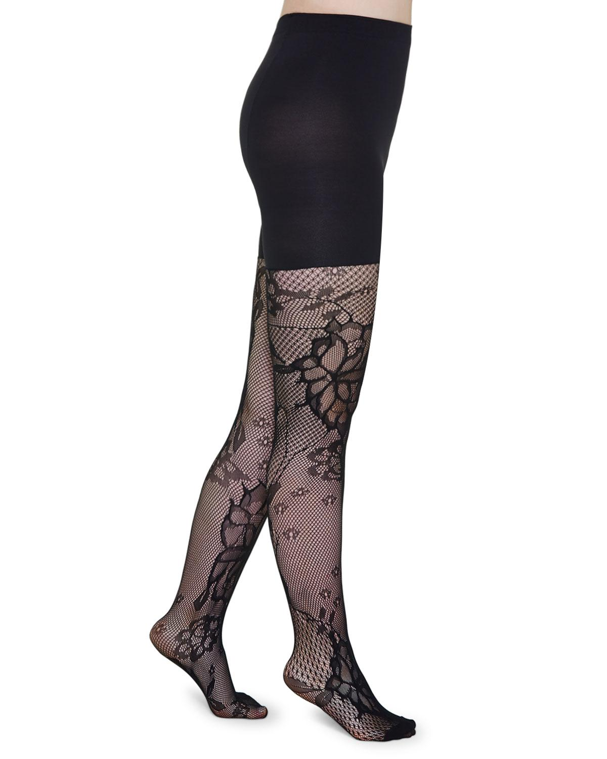 d9fbbed927 Lyst - Spanx Mid-thigh Shaping Floral-fishnet Tights in Black - Save 52%