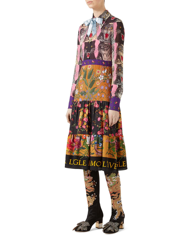 bdbdc7952 Gucci Patchwork Print Viscose Dress - Lyst