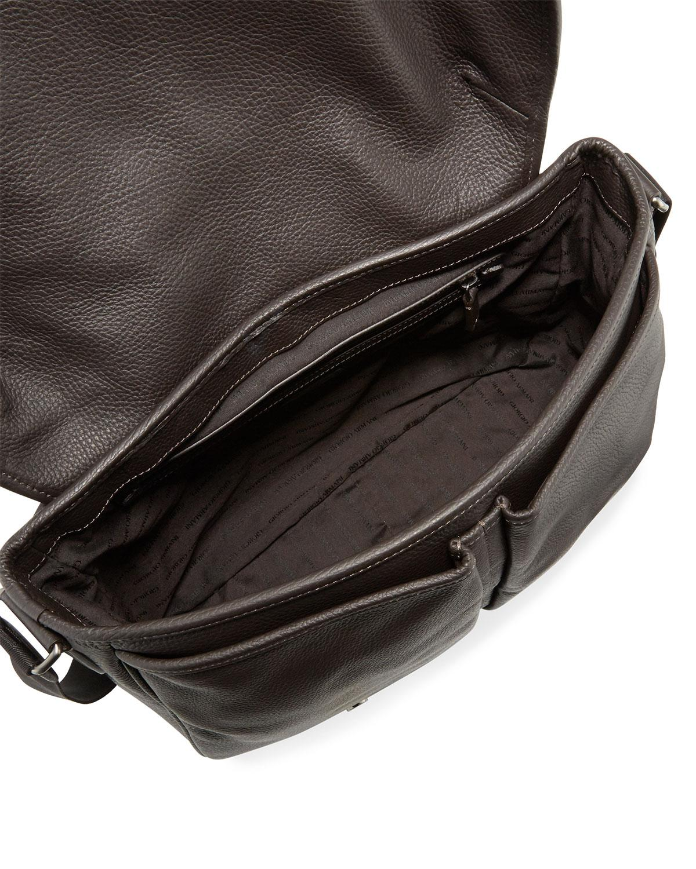 57bb8c030efc Lyst - Giorgio Armani Men s Vitello Leather Messenger Bag for Men