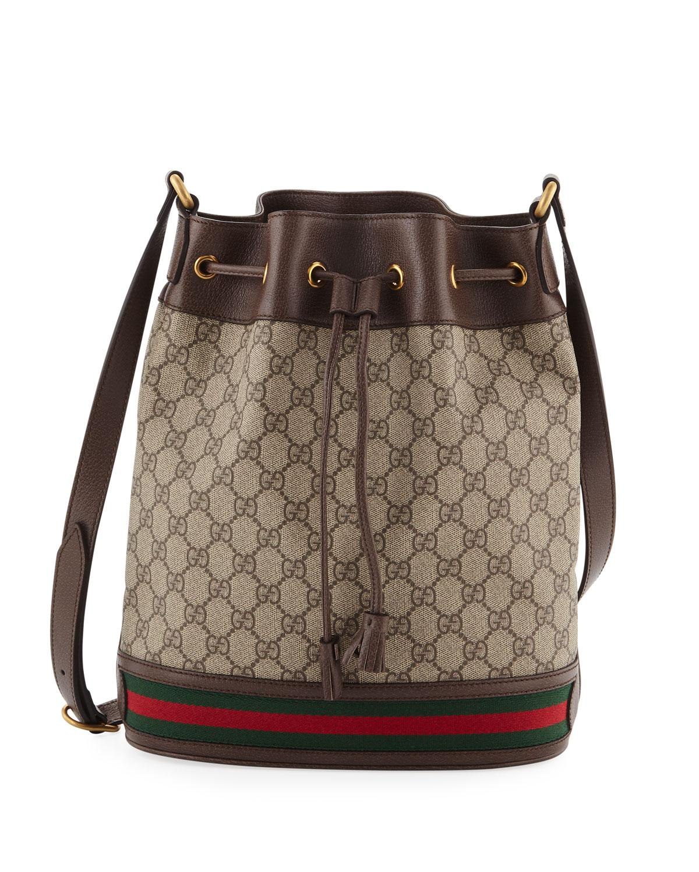 2c440ff5da2 Gucci Ophidia GG Supreme Canvas Drawstring Bucket Bag in Natural - Lyst
