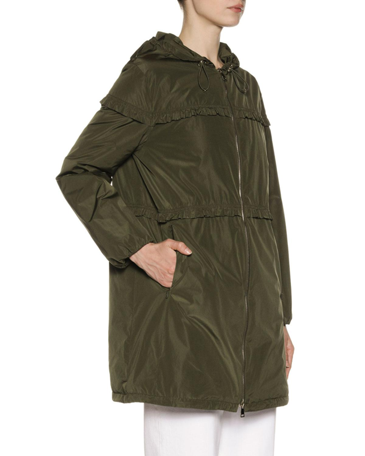 4d92a3d236db Lyst - Moncler Luxembourg Hooded Ruffle-trim Jacket in Green