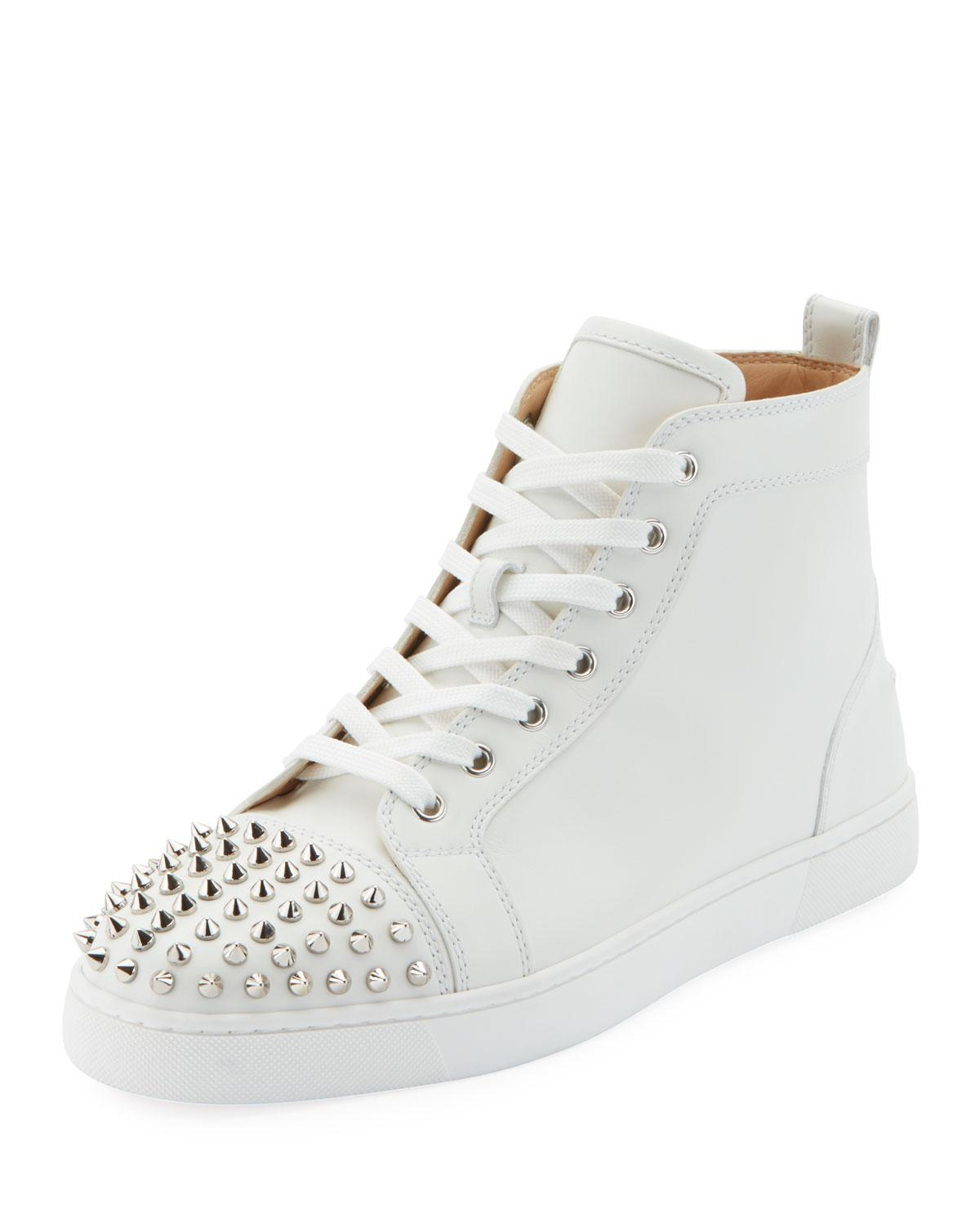 3c507be7ac3d Lyst - Christian Louboutin Men s Lou Spikes High-top Sneakers in White