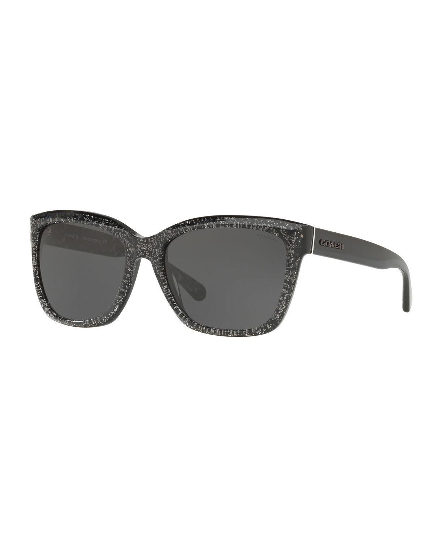 4482dabeb2f6 COACH - Black Square Glitter Acetate Sunglasses - Lyst. View fullscreen