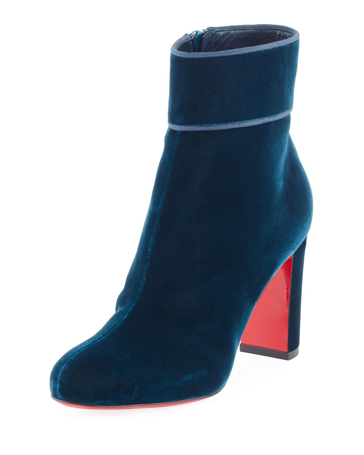 f244cac27ac5 Lyst - Christian Louboutin Moulamax Velvet 85mm Boot in Blue
