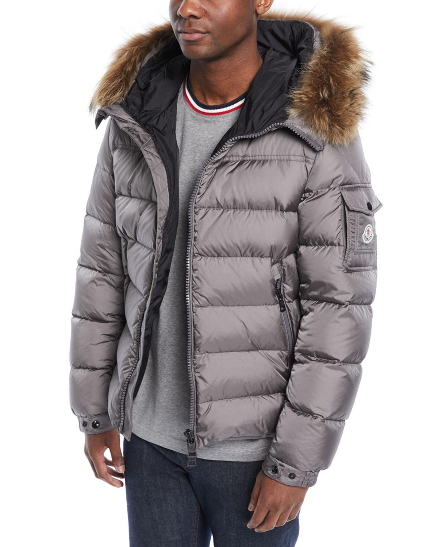 000bb58f0 Lyst - Moncler Men s Marque Fur-trim Puffer Jacket in Gray for Men