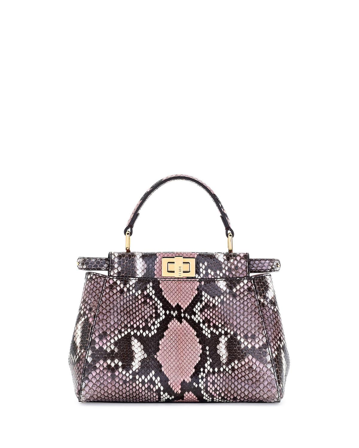 f7f5e2b444f2 Lyst - Fendi Peekaboo Mini Python Satchel Tote Bag in Pink