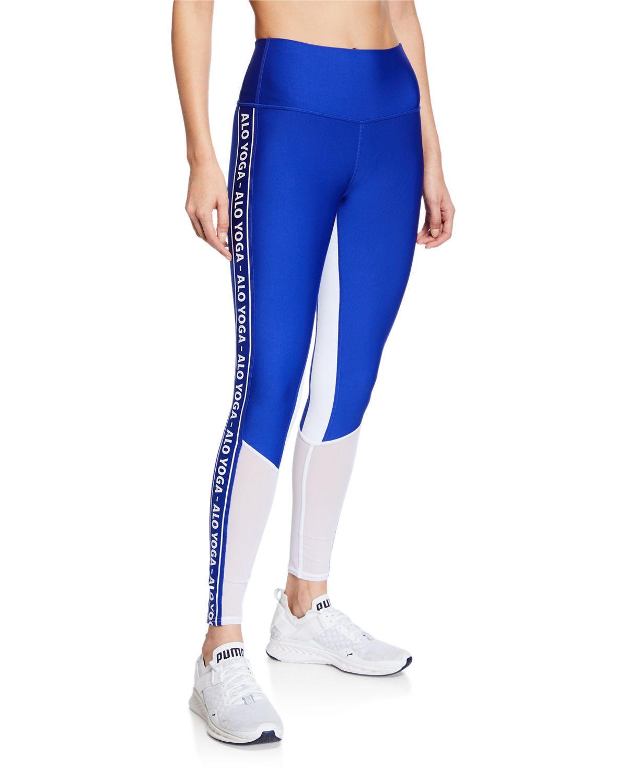 a4dde65cc7fc3f Alo Yoga High Waist Logo Colorblock Trainer Leggings in Blue - Lyst