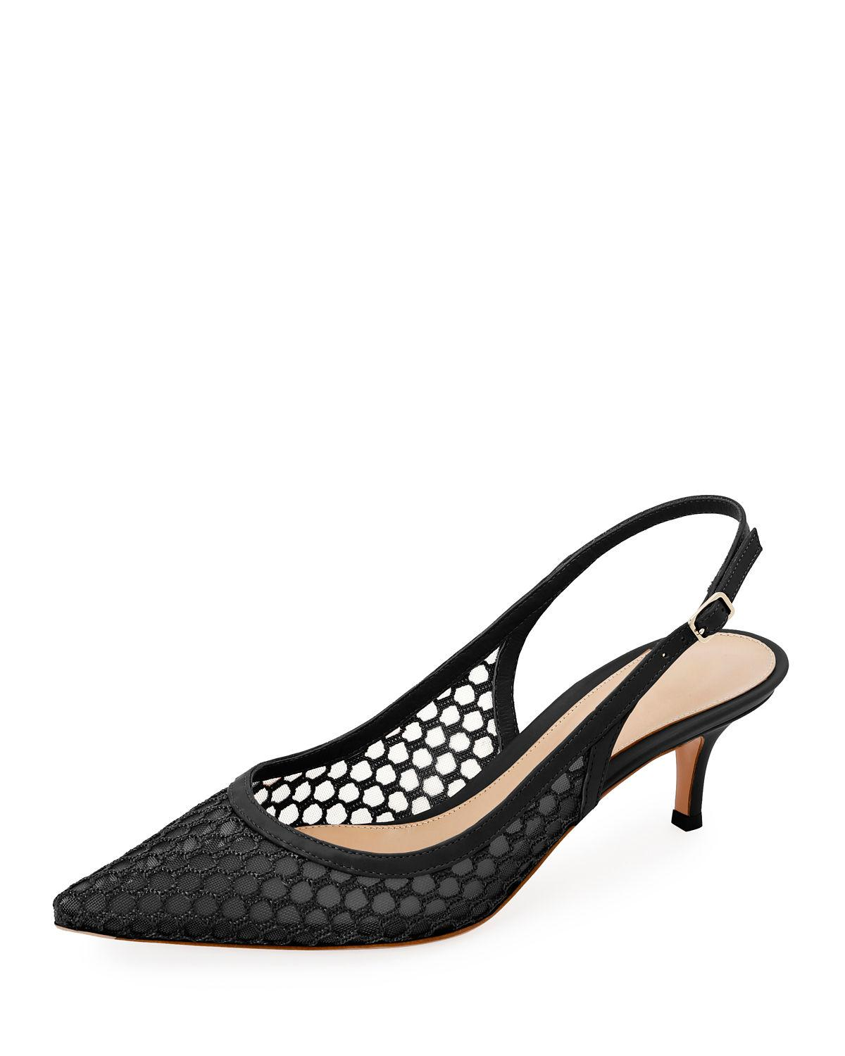 b2aeb54c6ce8 Lyst - Gianvito Rossi Slingback Fishnet Pointed Pumps in Black