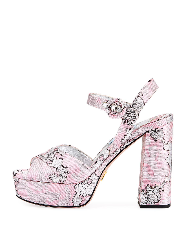 8176da09638ee Lyst - Prada Brocade Platform Block-heel Sandal in Pink