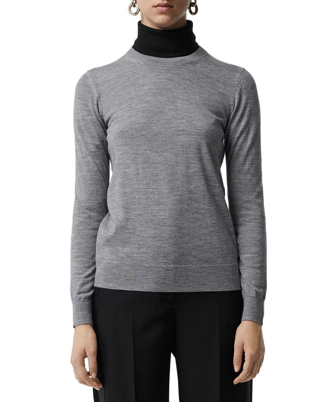4c60b63ad8bd Lyst - Burberry Bempton Crewneck Long-sleeve Merino Wool Sweater in Gray