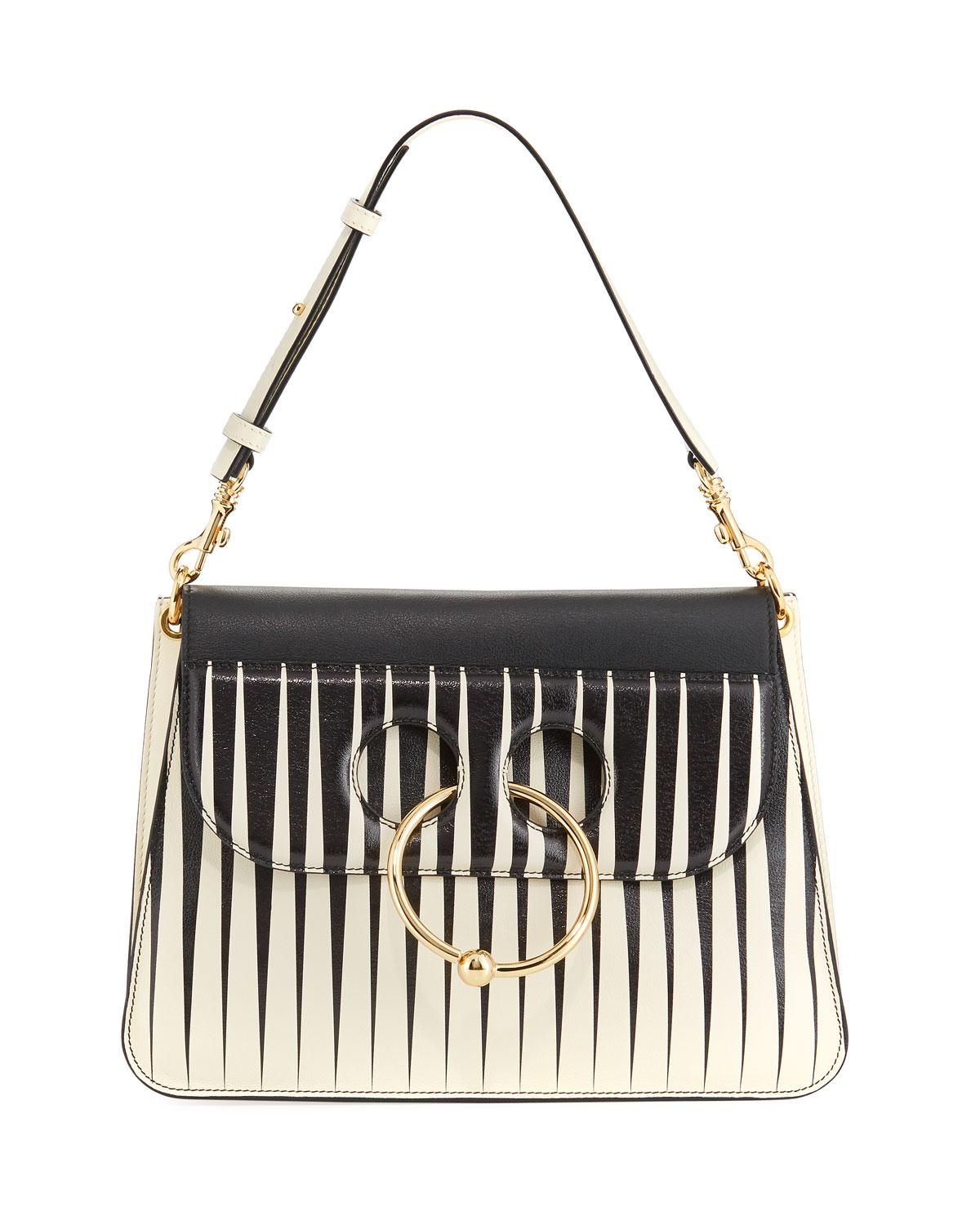 Pierce medium striped leather shoulder bag J.W.Anderson