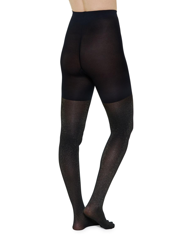 8710f61bb6 Spanx - Black Mid-thigh Shaper Metallic Shimmer Tights - Lyst. View  fullscreen