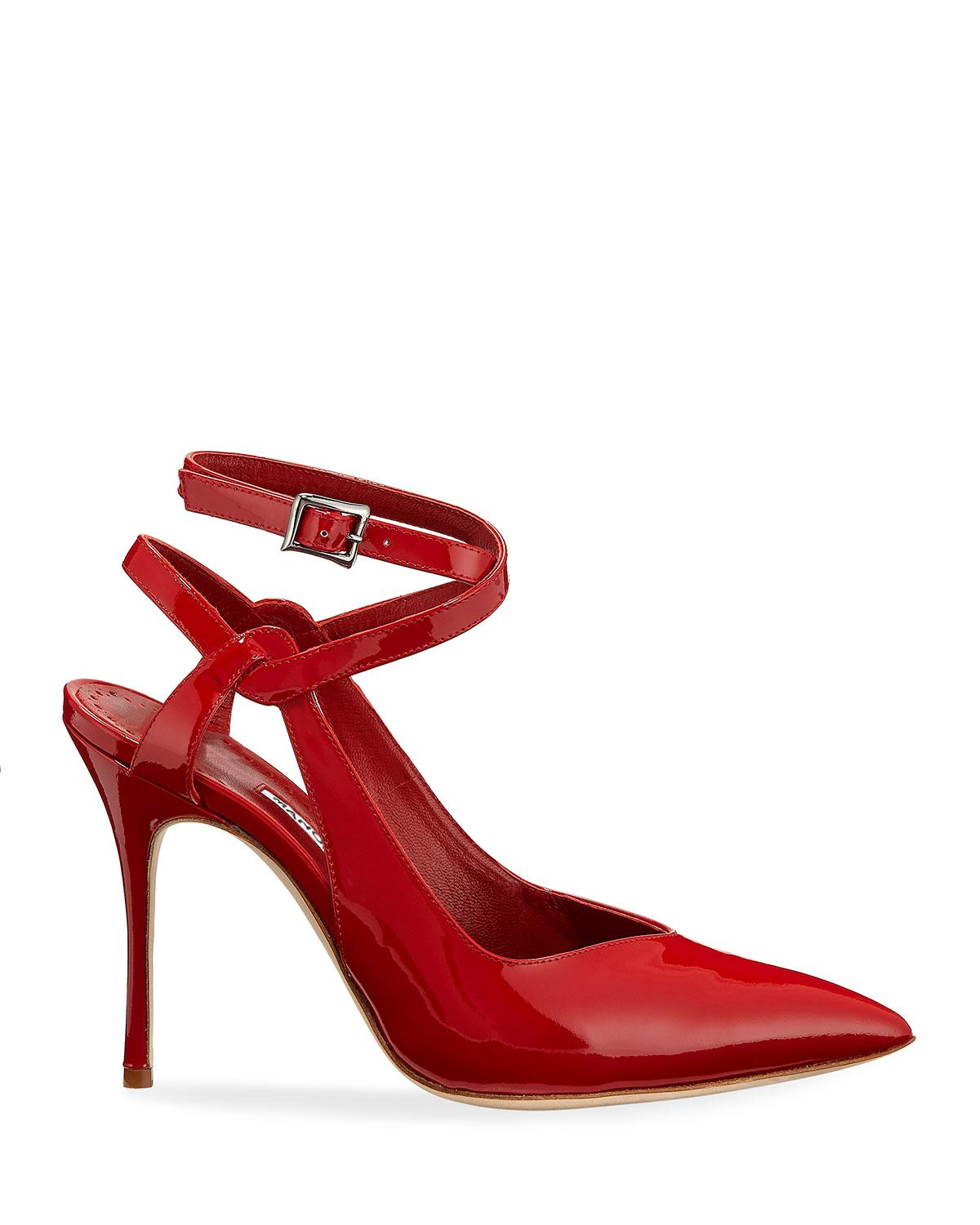cc86d5b8f9ab Lyst - Manolo Blahnik Lero Patent Leather Crisscross Ankle-strap Pumps in  Red