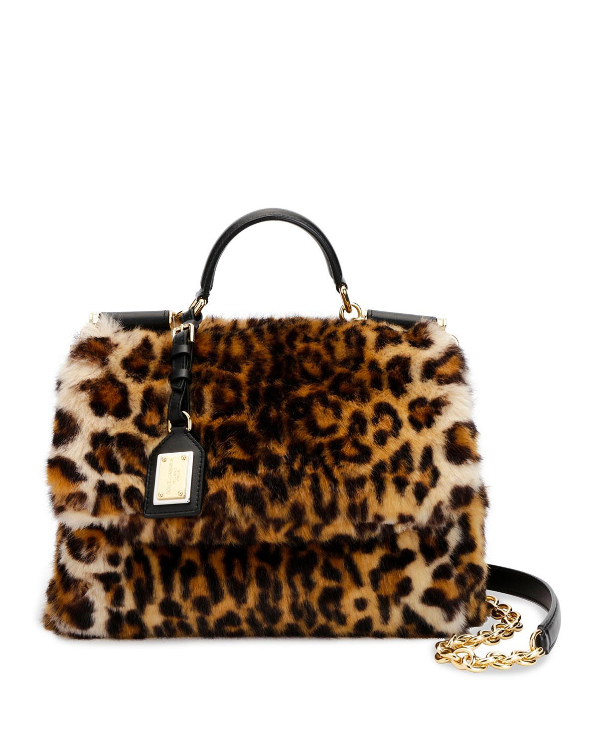 Dolce   Gabbana Sicily Medium Leo Pellicciotto Faux-fur Satchel Bag ... 7510137982
