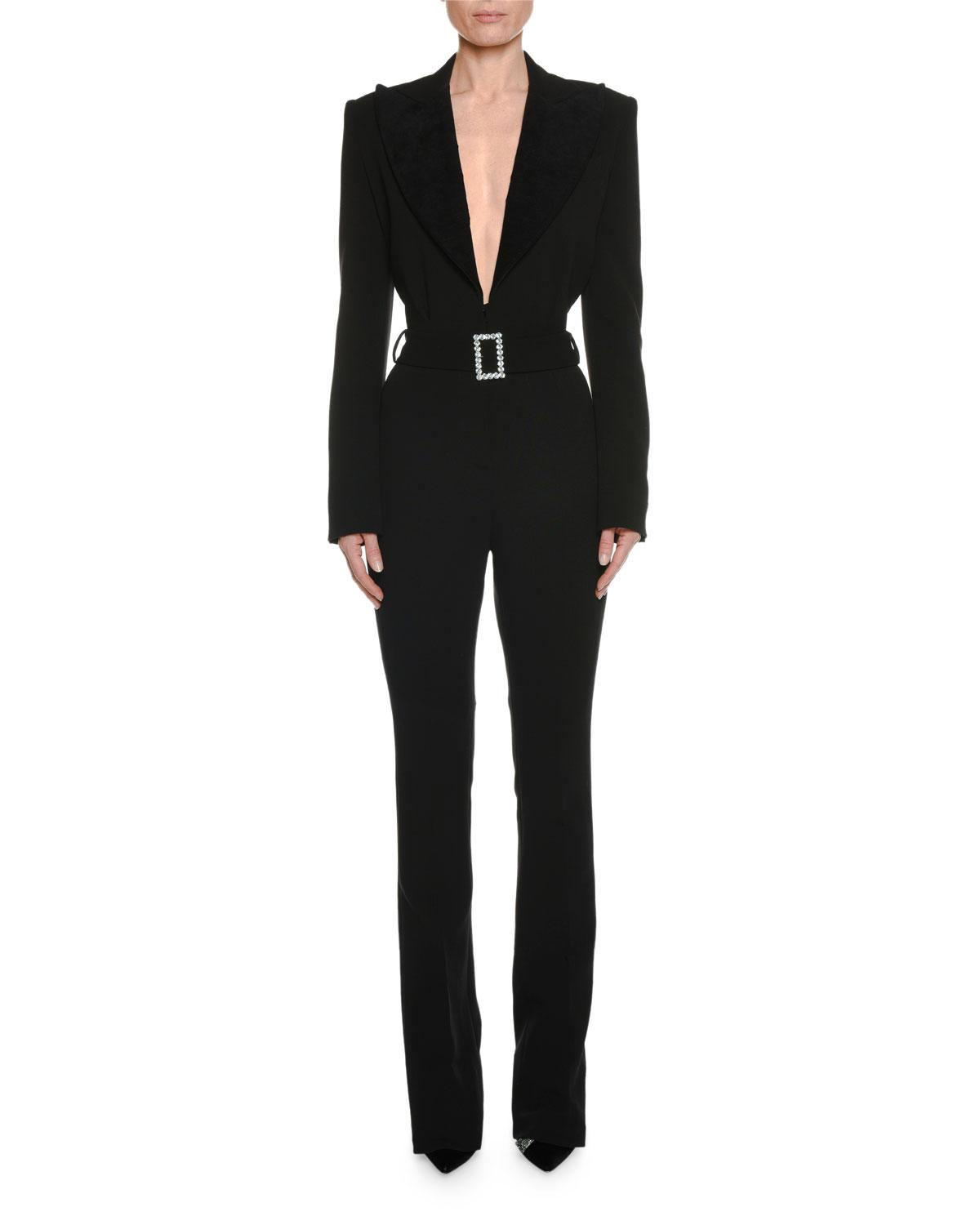 a9acffd3ca71 Tom Ford. Women s Black Long-sleeve Plunging Tuxedo Straight-leg Jumpsuit  With Velvet Lapel