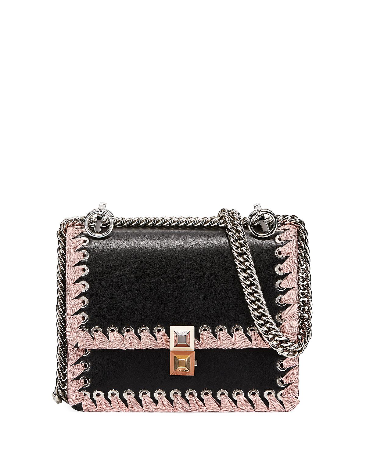 53c936bb80 Lyst - Fendi Kan I Ribbon Whipstitch Small Shoulder Bag in Black ...