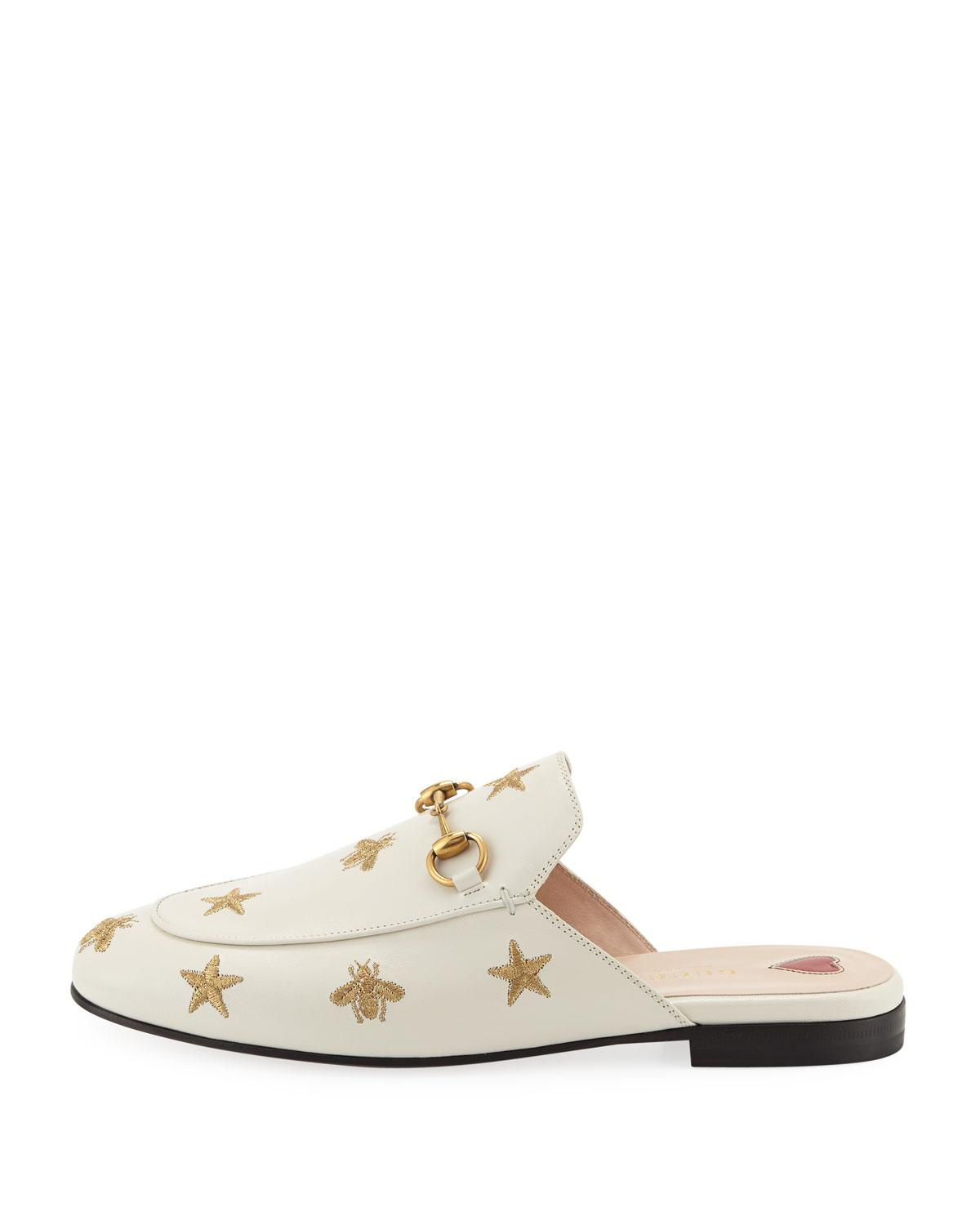 04b8dc48d12 Lyst - Gucci Flat Princetown Bee   Star Mule in White