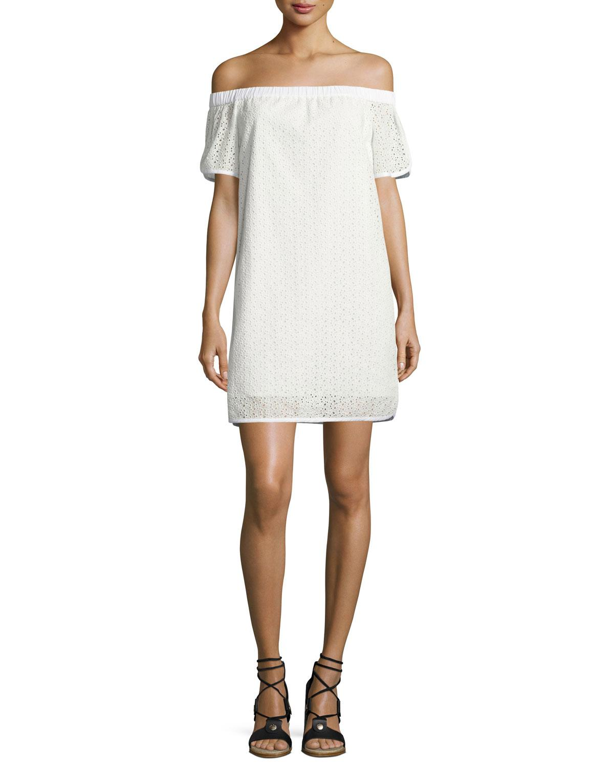 Rag & Bone Woman Off-the-shoulder Broderie Anglaise Cotton Dress White Size L Rag & Bone jv5Q3aBK