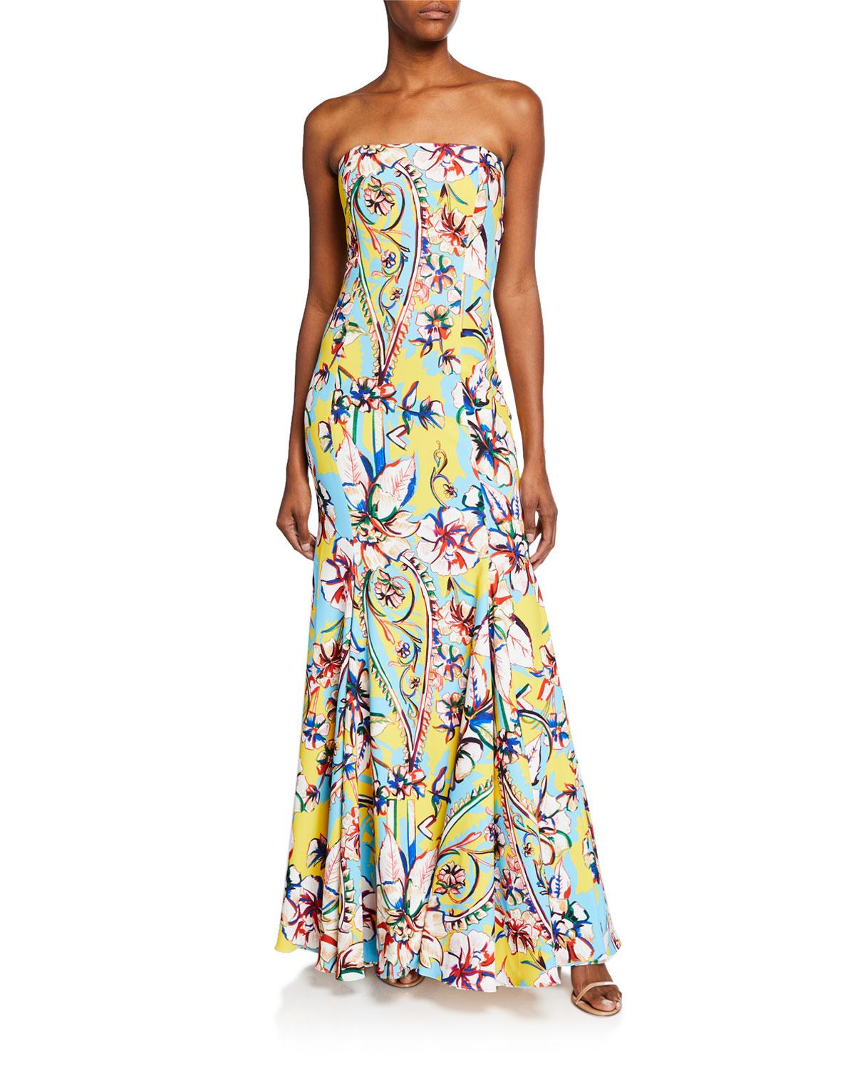 bf09b4988d4cd Lyst - Badgley Mischka Couture-print Strapless Bow-back Gown in Yellow