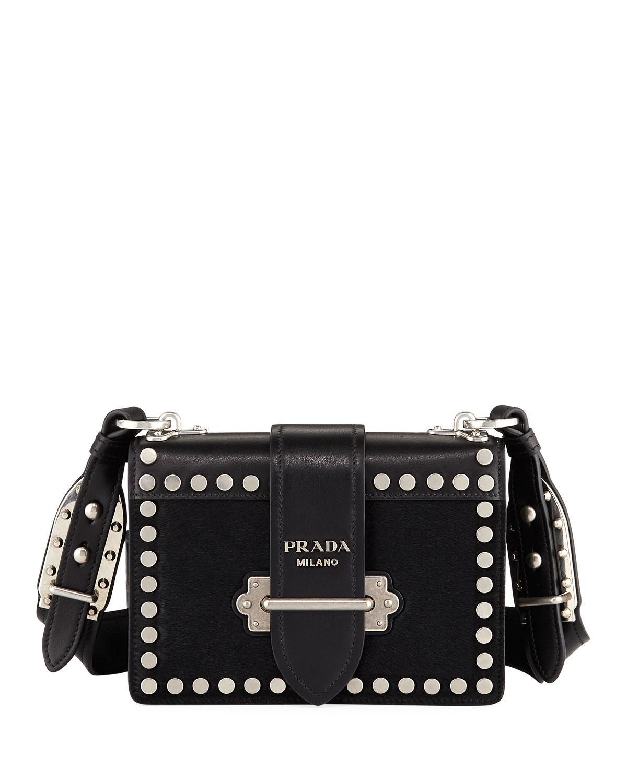 Prada Cahier Small Calf Hair Shoulder Bag FwH4X