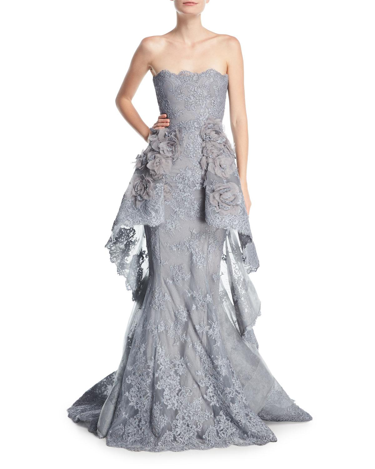 Lyst - Marchesa Strapless Lace Peplum Mermaid Gown in Gray