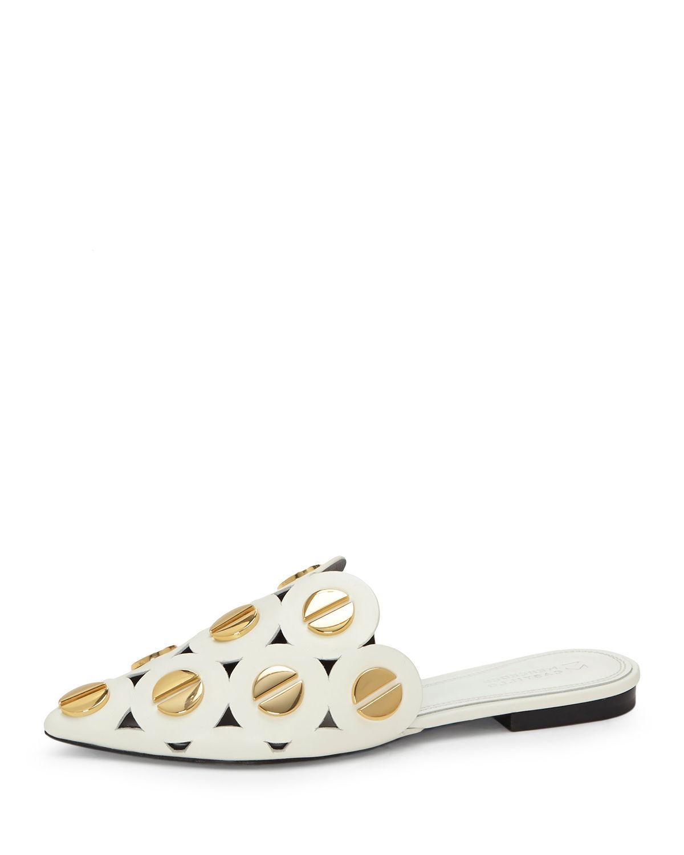 dd1c712a0d8 Lyst - Mercedes Castillo Kris Studded Velvet Mule in White