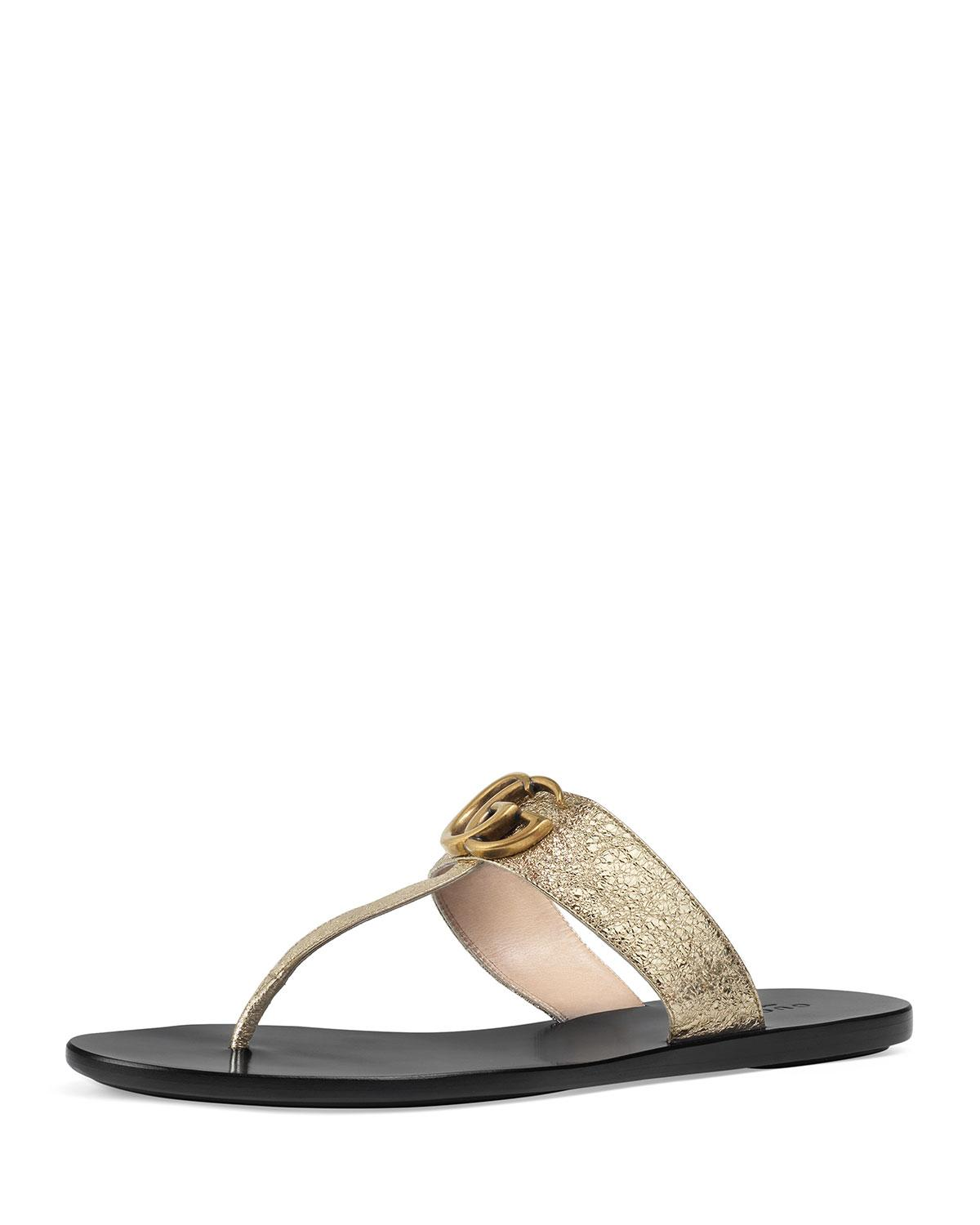 0be2c089200 Lyst - Gucci Gold Double G Leather Thong Sandal. in Metallic - Save 13%