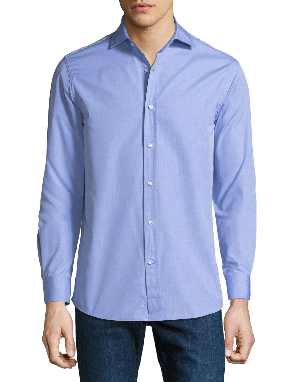 Lyst Ralph Lauren Mens Bond End On End Dress Shirt In Blue For Men