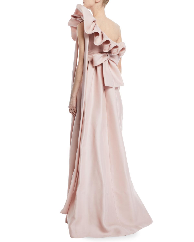 Lyst - Valentino One-shoulder Ruffle Light-gazaar Full Evening Gown ...