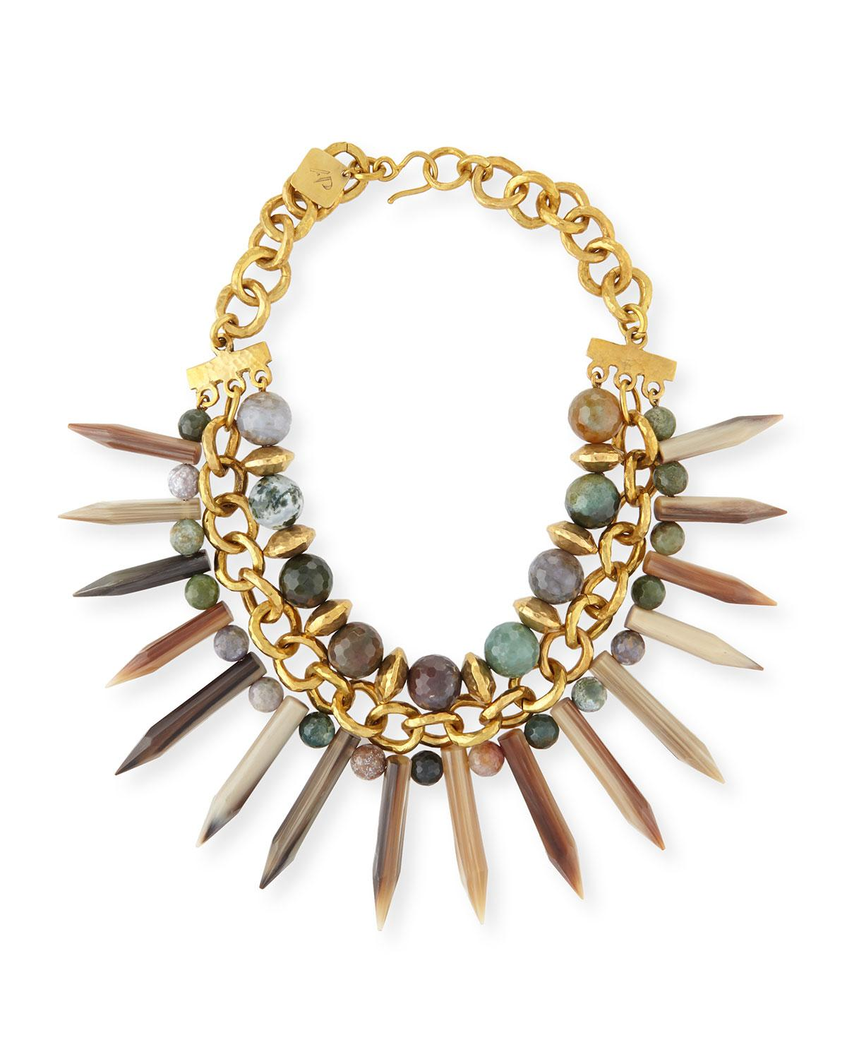 Ashley Pittman Lipua Mixed Horn Collar Necklace lLeWD9BpmV